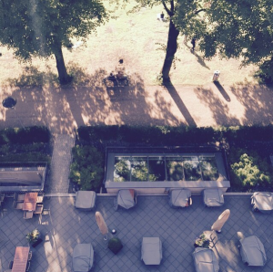 The view from a hotel window in summer